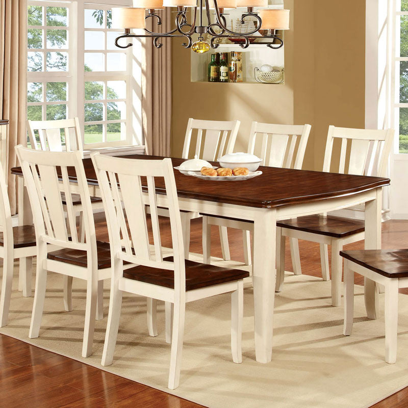 Dover White & Cherry Finish Dining Table Set – 24/7 Shop At Home