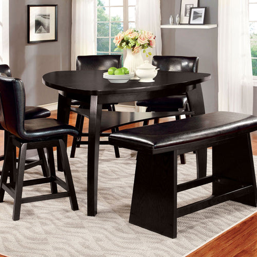 Hurley Black Finish Counter Height Table Set