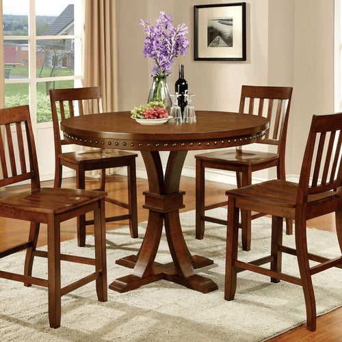 Gentry Vintage Oak Finish Counter Height Table Set
