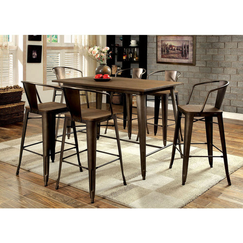 Britton Natural Elm Finish Counter Height Table Set