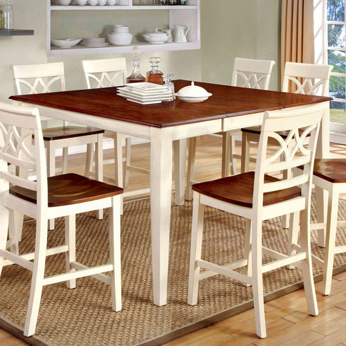 Smeaton Cherry and Antique White Counter Height Dining Set