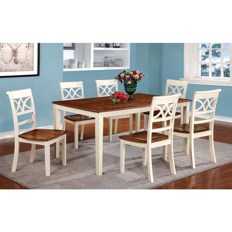 Smeaton Country Style Cherry and Antique White Dining Set