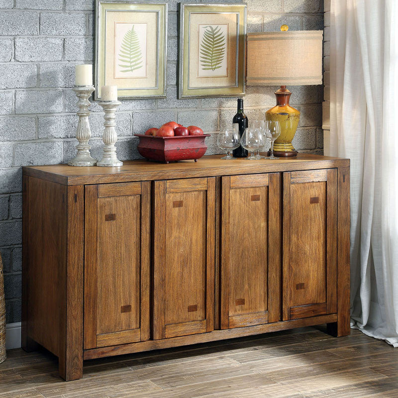 Lawrie Dark Oak Finish Buffet Server Buffet Cabinet