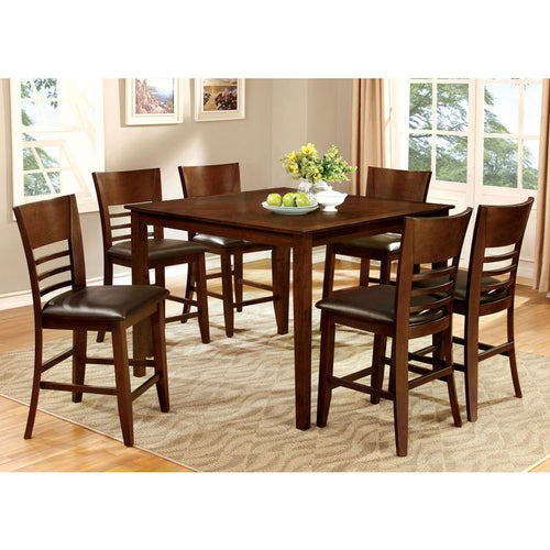 Hillview Brown Cherry Finish Counter Height Table Set
