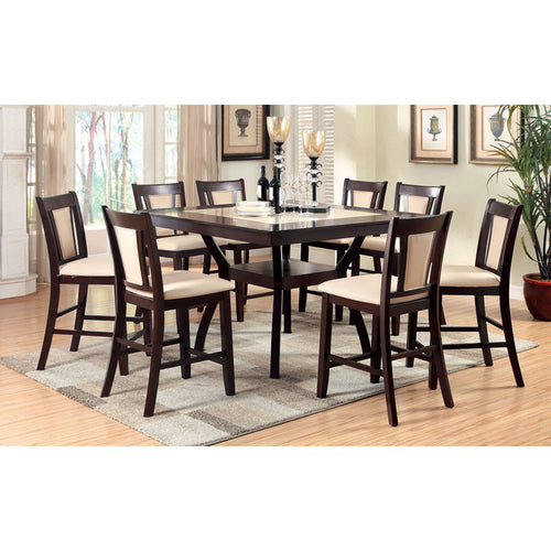 Brent Contemporary Dark Cherry Counter Height Dining Set