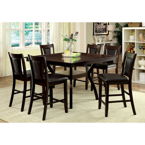 Matusz Dark Cherry Finish Counter Height Table Set