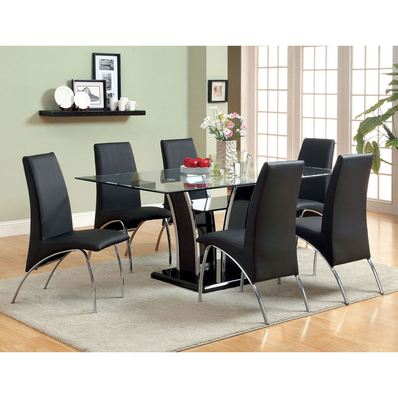 Glenview Contemporary Glass Dining Set