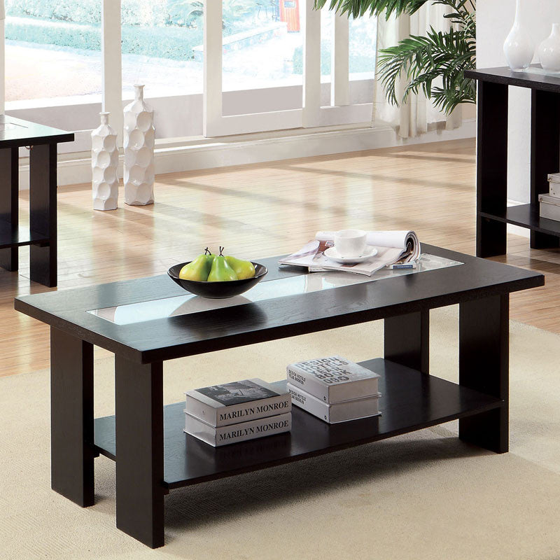 Luminar Espresso Finish Glass Insert Coffee Table
