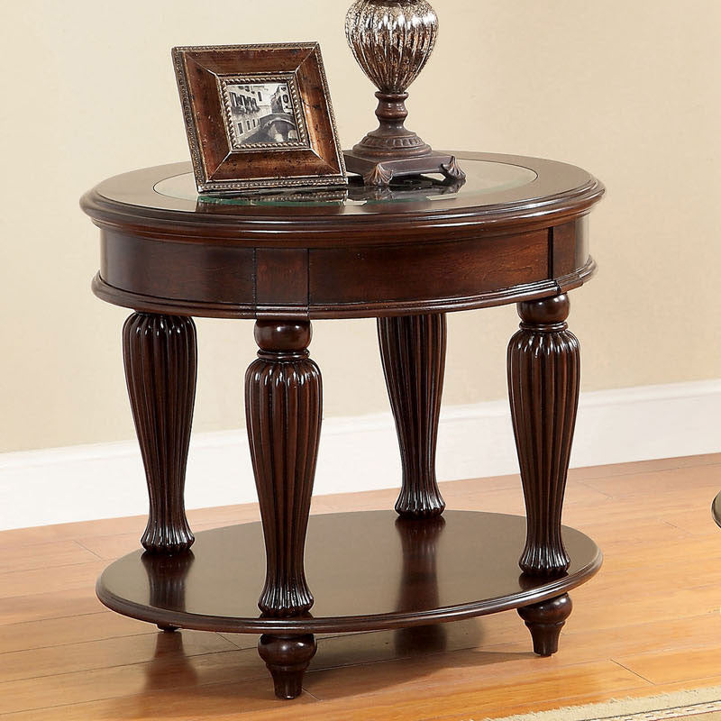 Centinel Luxurious Style Dark Cherry Finish End Table