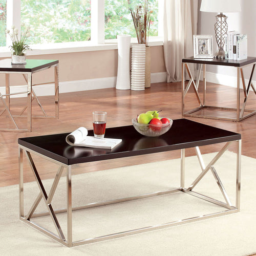 Kuzen Contemporary Style Chrome Finish 3 Piece Coffee Table Set