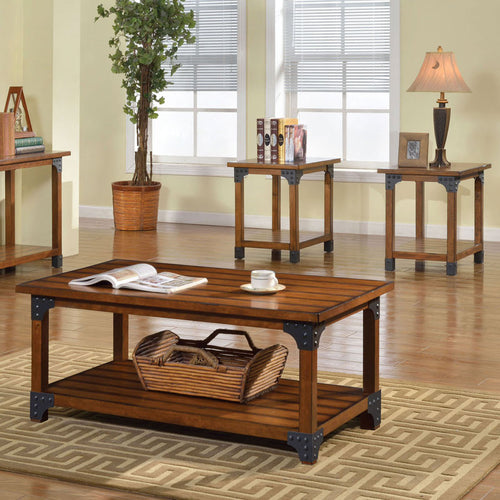 Bozeman Antique Oak Finish 3-Piece Coffee & End Table Set