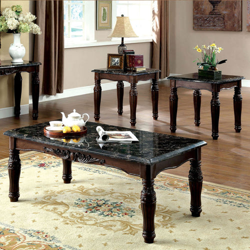 Brampton Espresso Finish 3-Piece Coffee & End Table Set