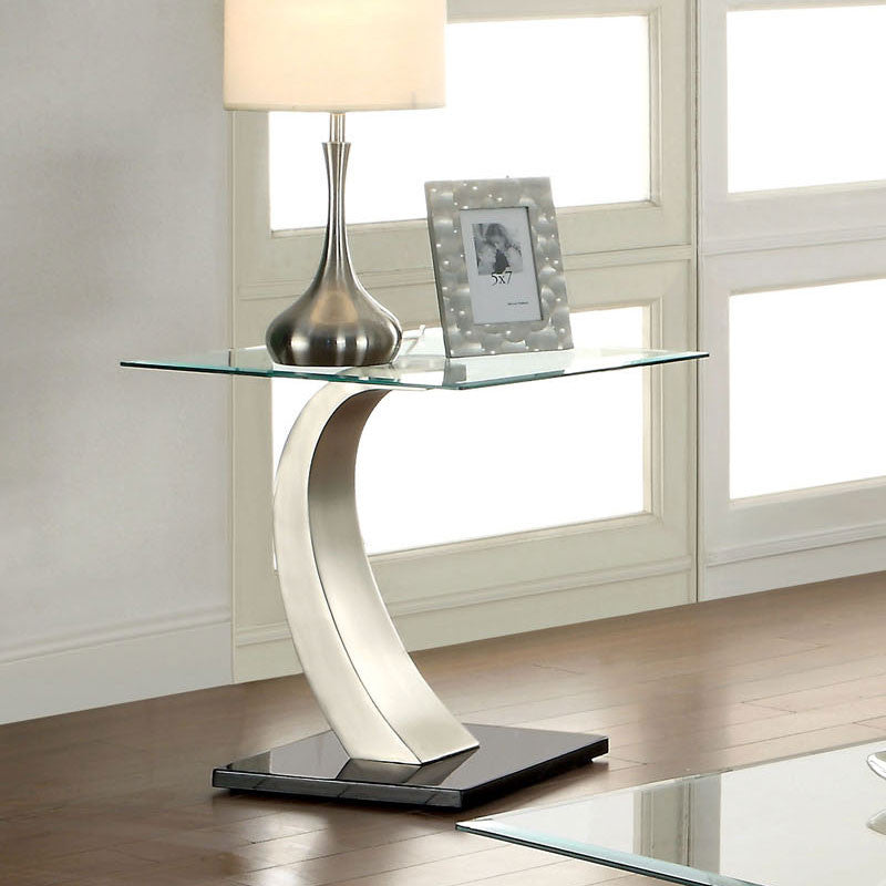 Roxo Chrome Finish Glass Top End Table