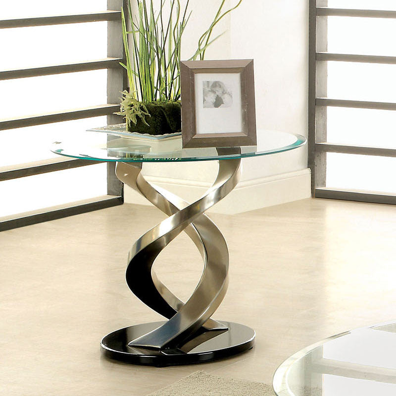 Nova Chrome Finish Glass Top End Table