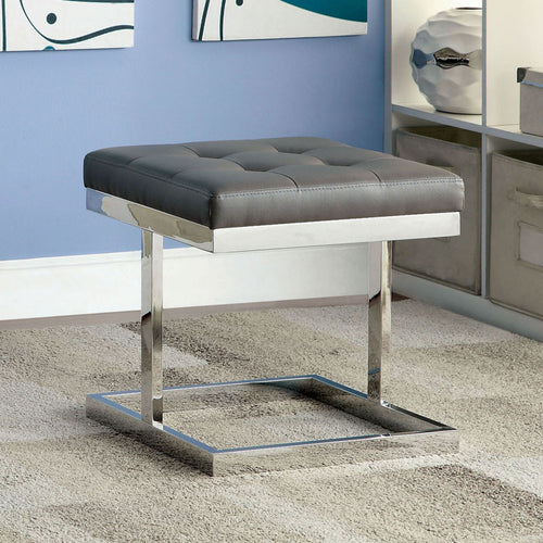 Lehr Contemporary Leatherette Ottoman