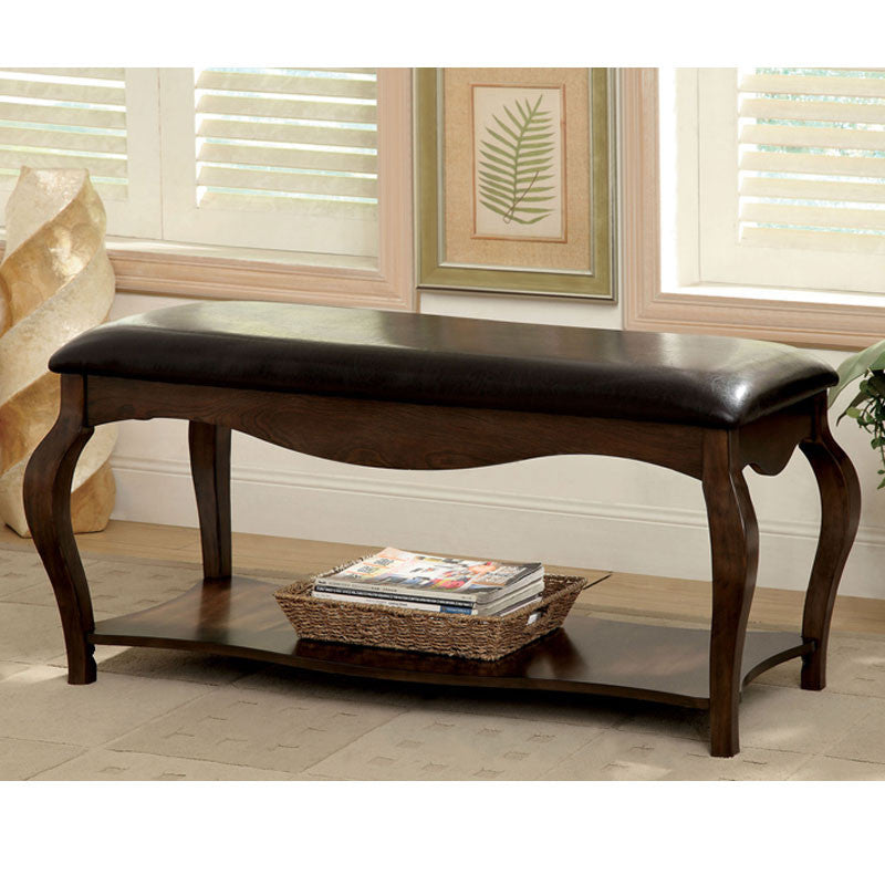 Enderby Tobacco Oak Leatherette Bench