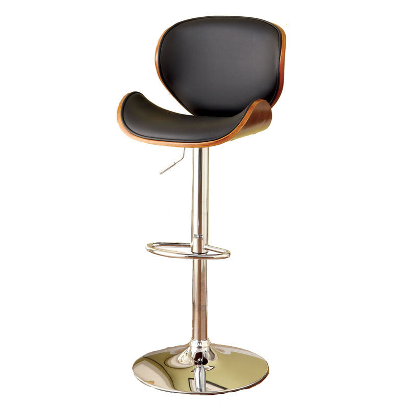 Belo Contemporary Height Adjustable Black Leatherette Wooden Trim Swivel Bar Stool