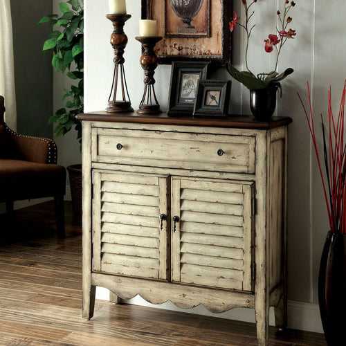 Hazen Country Antique White Storage Cabinet