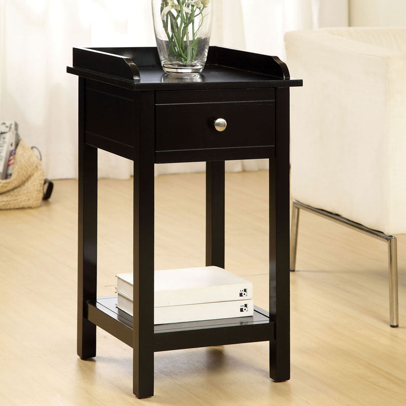 Voula Classic Style Single Drawer Side Table, Black