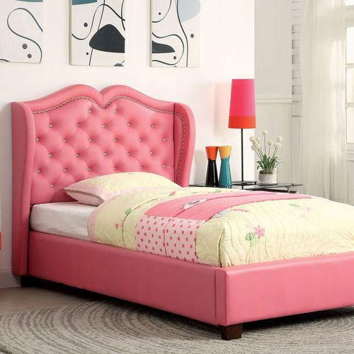 Monroe Contemporary Pink Leatherette Platform Bed