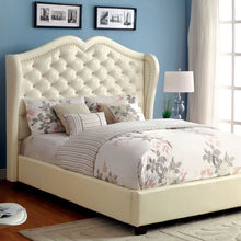 Monroe Contemporary Style Ivory Finish Leatherette Bed Frame Set