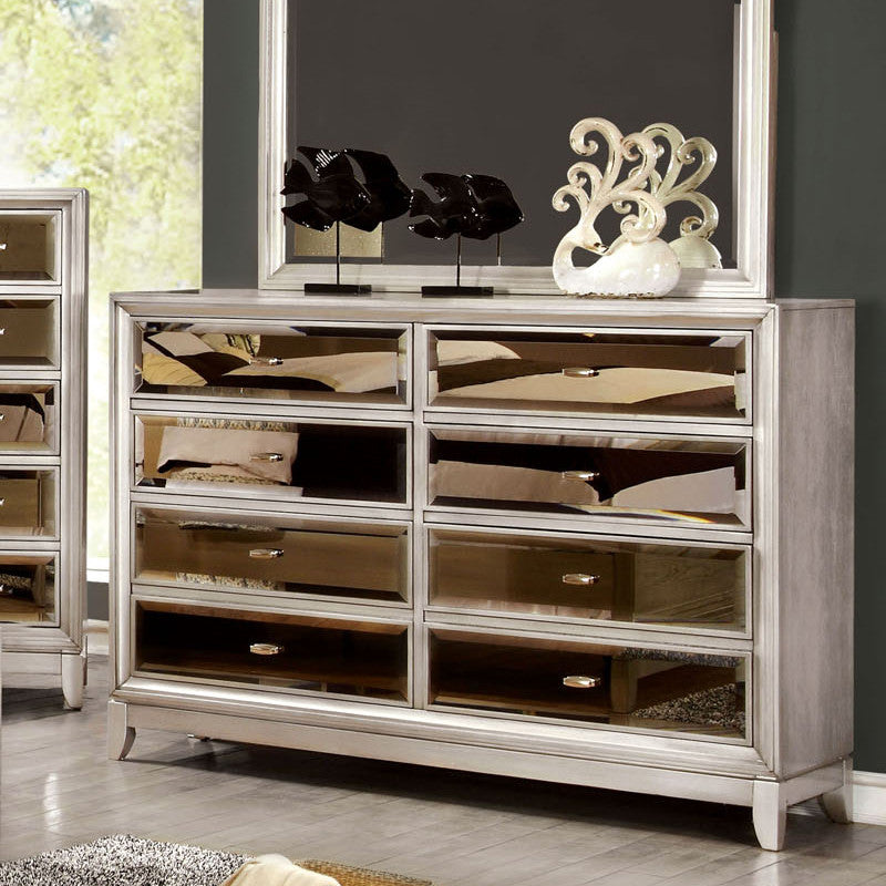 Golva Contemporary Silver Bedroom Dresser