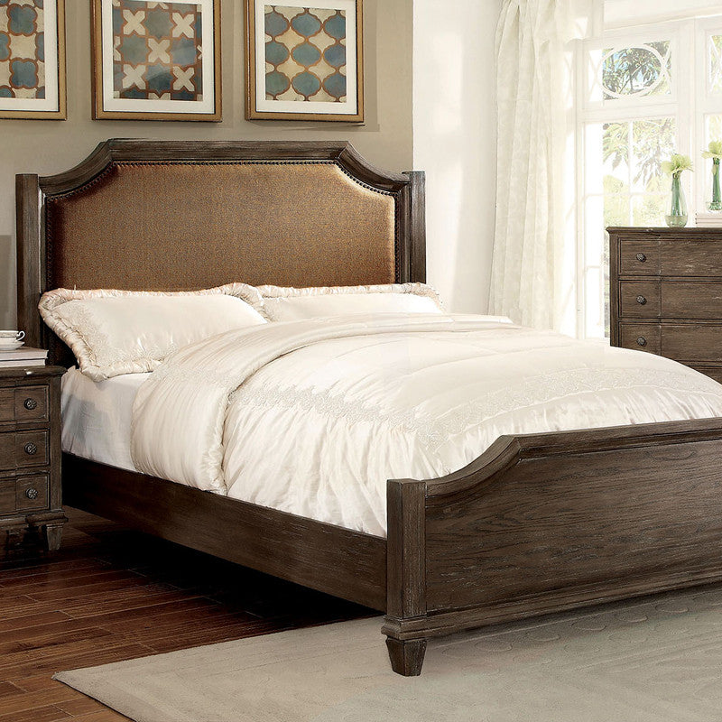 Halliday Transitional Wire-Brushed Gray Bed