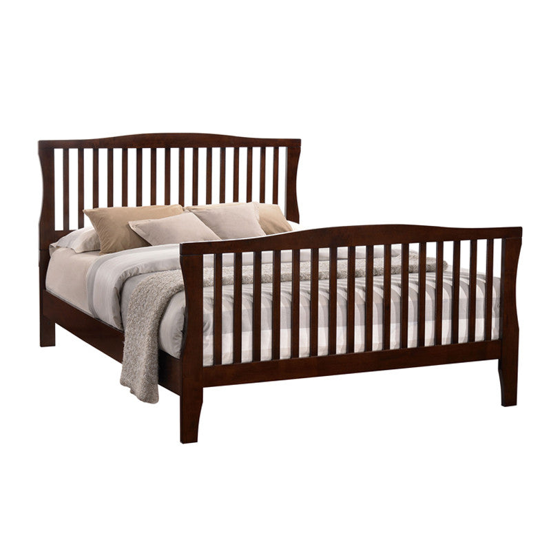Riggins Contemporary Slatted Design Brown Cherry Bed
