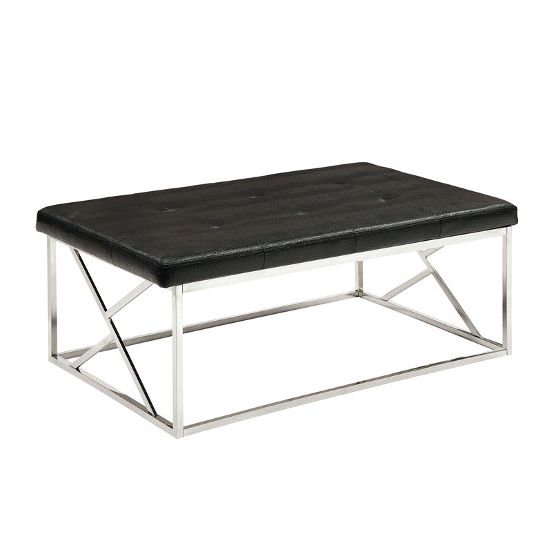 Mila Contemporary Crocodile Leatherette Accent Bench