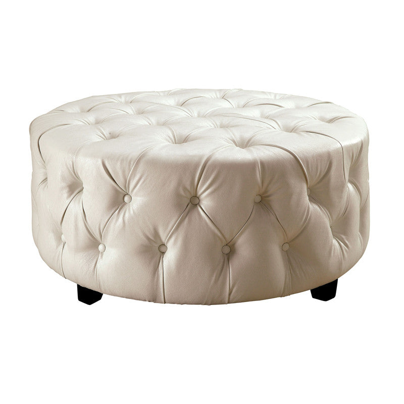 Latoya Bonded Leather Finish Round Accent Ottoman
