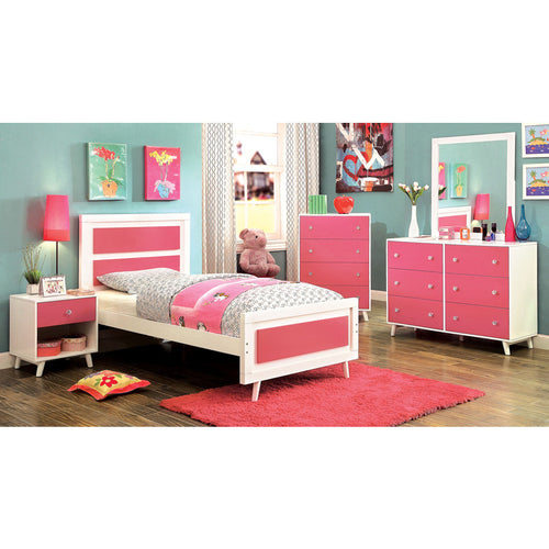 alivia pink and white 5piece youth bedroom set