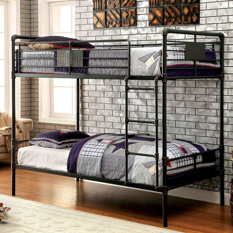 Olga Industrial Dual Twin Size Bunk Bed