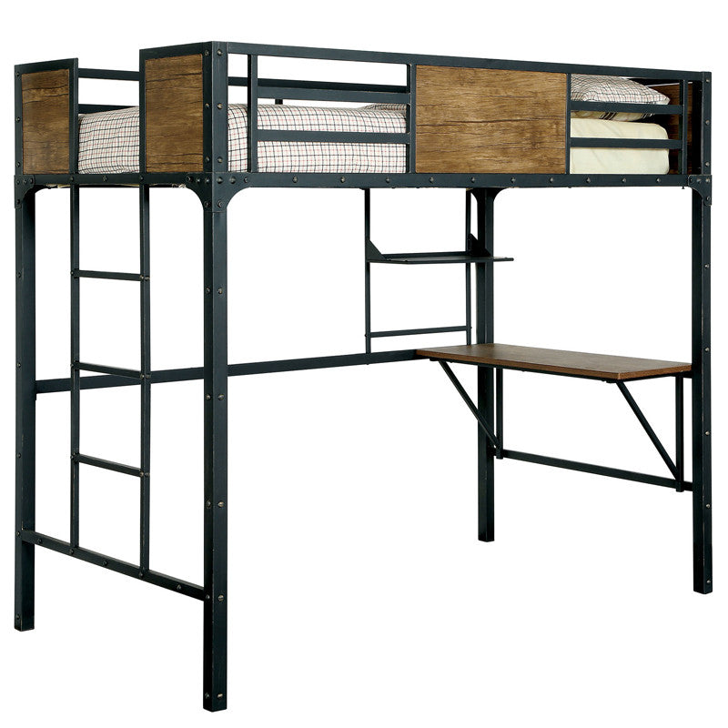 Clapton Industrial Twin Size Youth Bunk Bed w/ Workstation