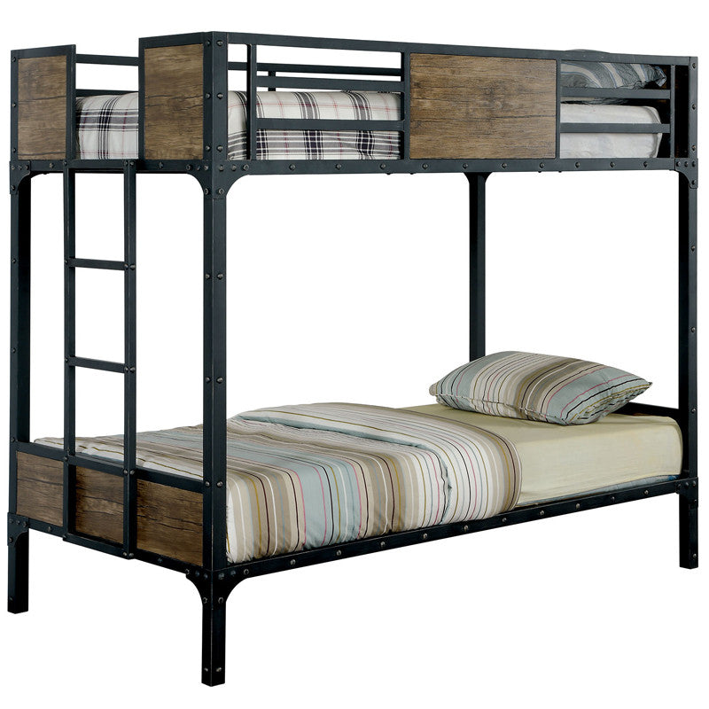 Clapton Industrial Black Dual Twin Size Metal Youth Bunk Bed