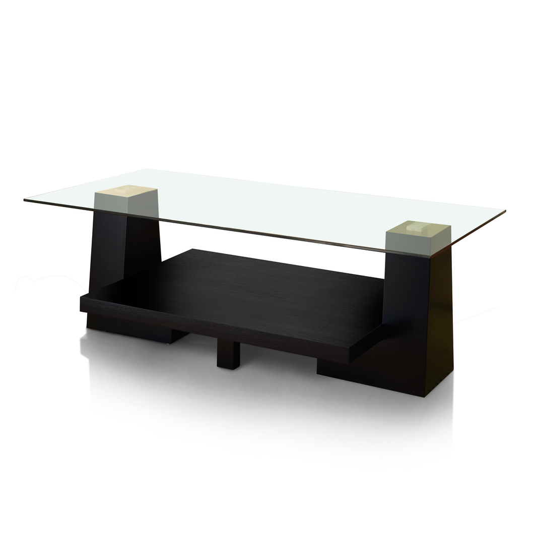 Albin Modern Style Contours Leveled Glass Top Coffee Table