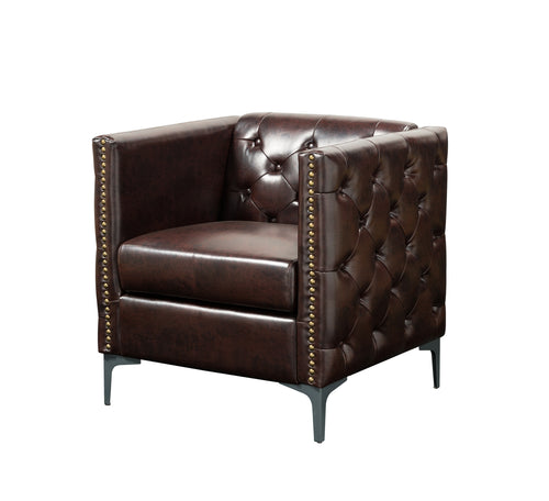 Jacob Industrial Studded Brown Leatherette Club Chair