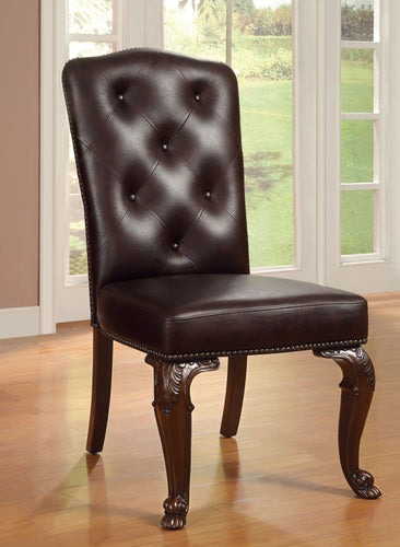 Bellagio English Style Brown Cherry Leatherette Finish Dining Chair
