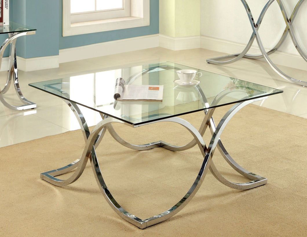 Luxa Contemporary Tempered Glass Top Coffee Table