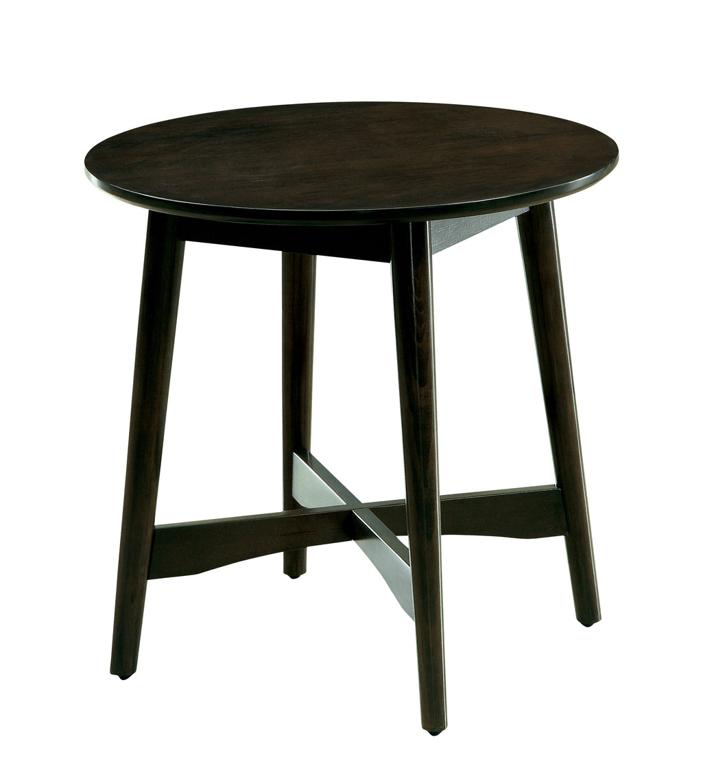 Gavino Modern Mid-Century Round Ash Brown End Table
