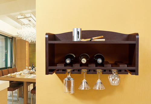 Medalla Wall Mount Dark Walnut Wine Rack
