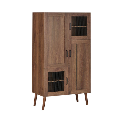 Marveau Rustic Distressed Walnut Shoe Cabinet