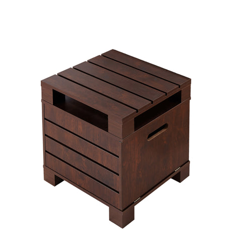 Caro Square Vintage Walnut Storage End Table