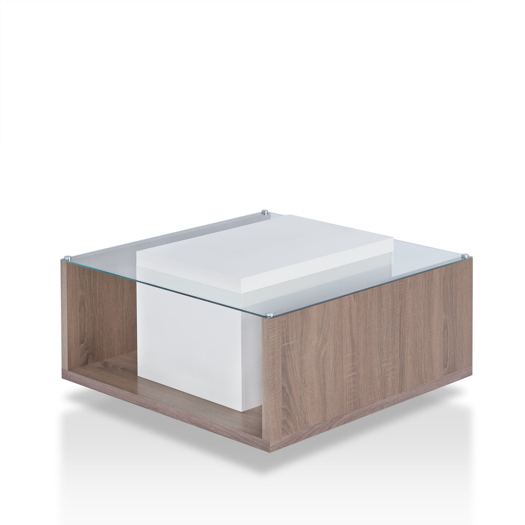 Vivienne Contemporary Glass Top Coffee Table, Chestnut Brown and White