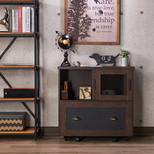 Izzo Industrial 1-Drawer Vintage Walnut File Cabinet