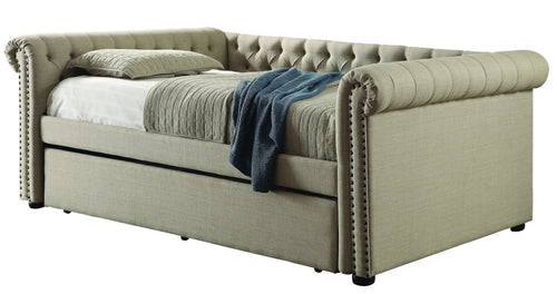 Meisel Contemporary 2-Piece Tufted Linen Daybed with Twin Trundle Set