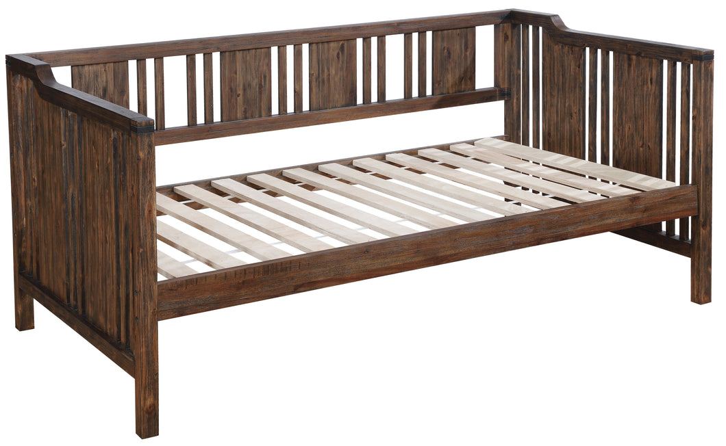 Tolsim Transitional Slatted Wood Panel Day Bed, Dark Walnut