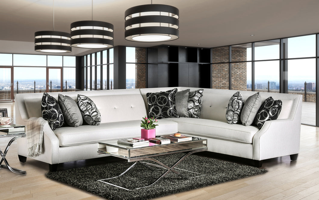 Fiarra Transitional Shined Fabric Sectional, Off-White