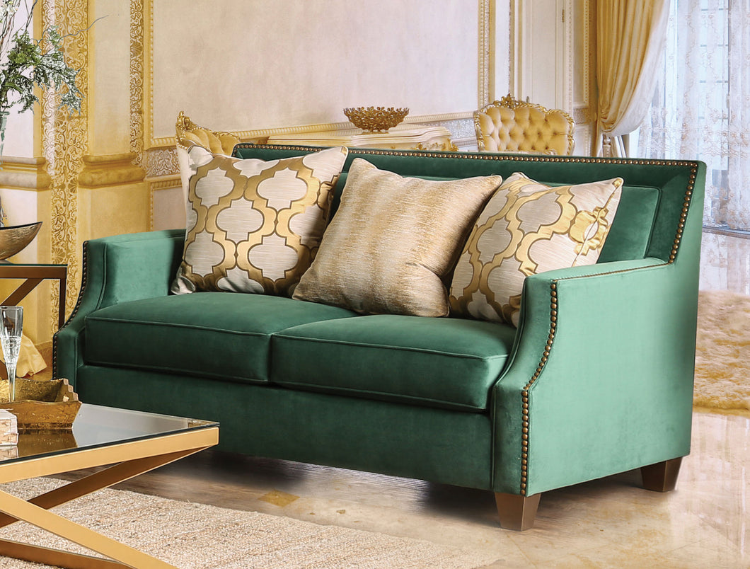 Golnessa Transitional Microfiber Love Seat with Gold Accents, Emerald Green