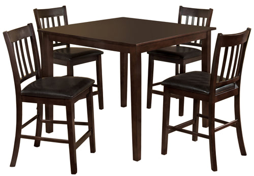 Midtown Contemporary Espresso 5-Piece Counter Height Dining Set