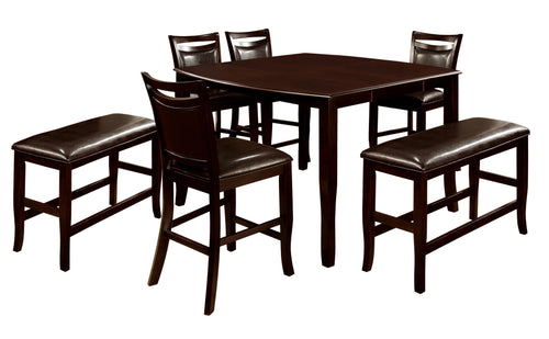 Woodside Dark Cherry Finish Counter Height Bench Table Set